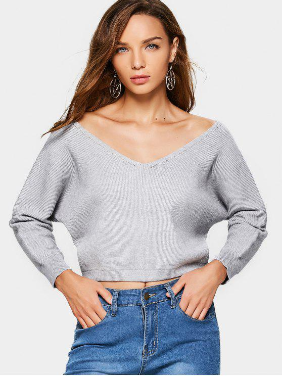 women Batwing Loose V Neck Sweater - GRAY ONE SIZE