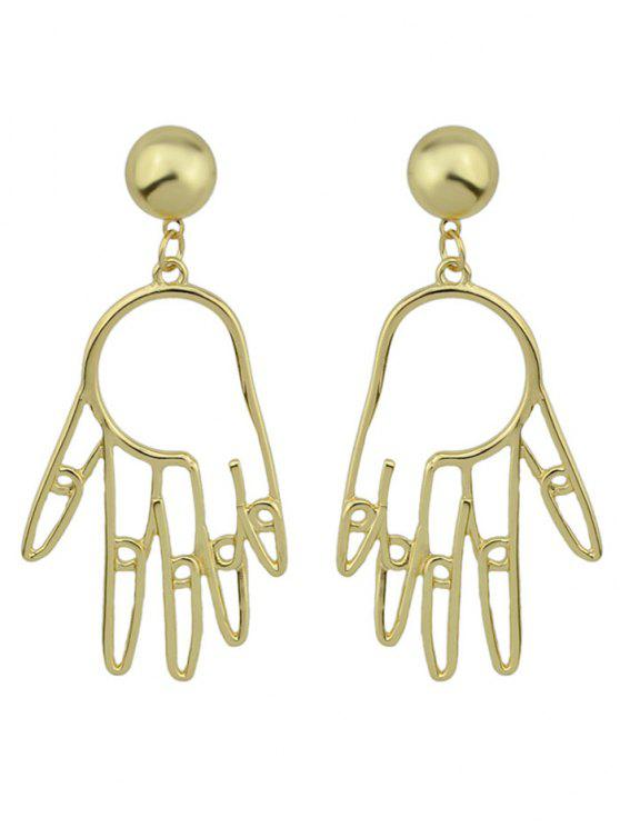 outfit Metal Hand Ball Funny Earrings - GOLDEN