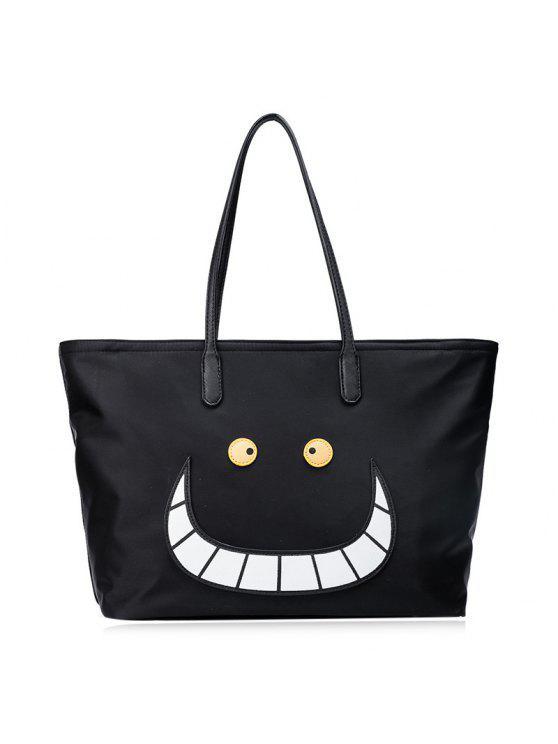 اللون كتلة السوستة النايلون المتسوق حقيبة - أسود