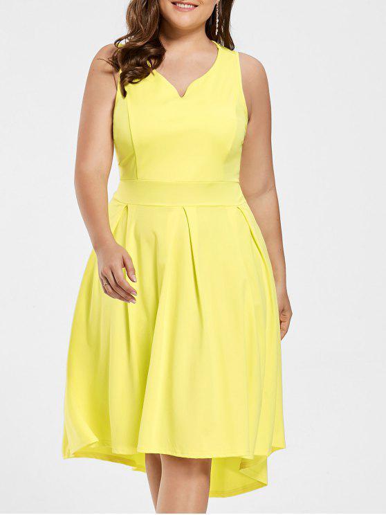 ارتفاع منخفض بلا أكمام ثوب زائد الحجم - الأصفر 2XL
