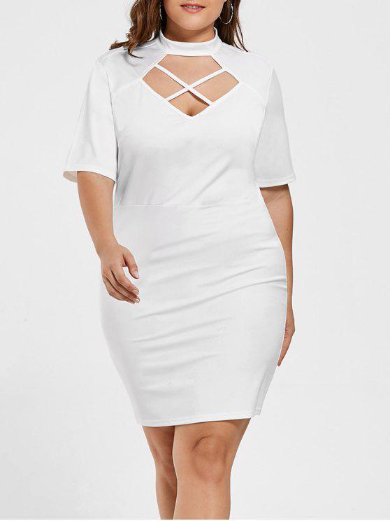 فستان ضيق ذو أربطة متقاطعة - أبيض 3XL