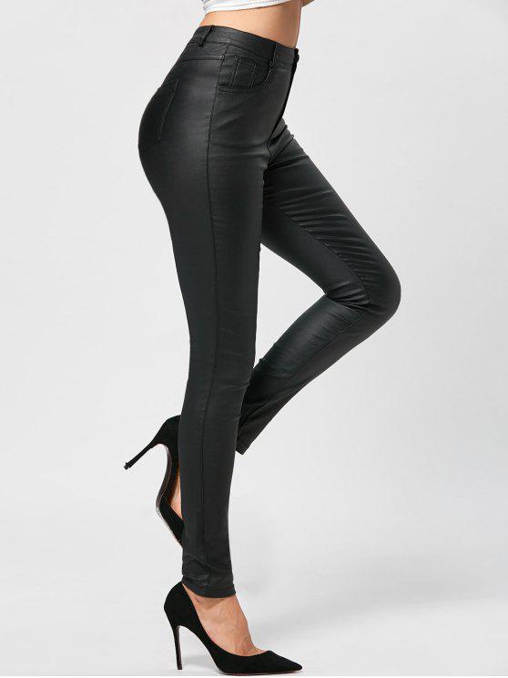 ladies Five Pockets PU Leather Pencil Pants - BLACK L