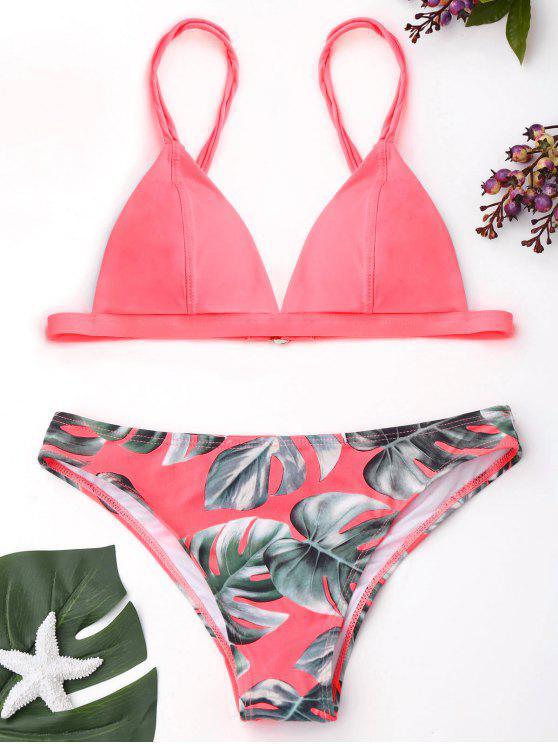 Bikini Imprimé Feuilles de Palmier - ROSE PÂLE S