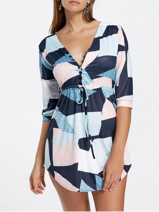 فستان مشد غارق طباعة هندسية مصغر - متعدد XL