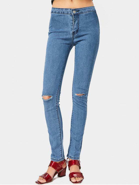 Zipper Fly Ripped Straight Jeans - Azul XL