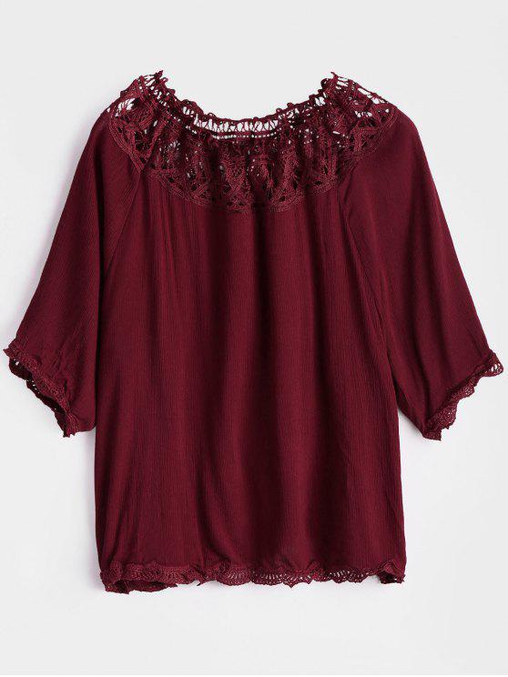 De la blusa del hombro ahueca hacia fuera - Rojo oscuro XL