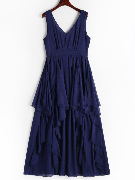 best Plunging Neck Open Back Tiered Dress - CERULEAN L