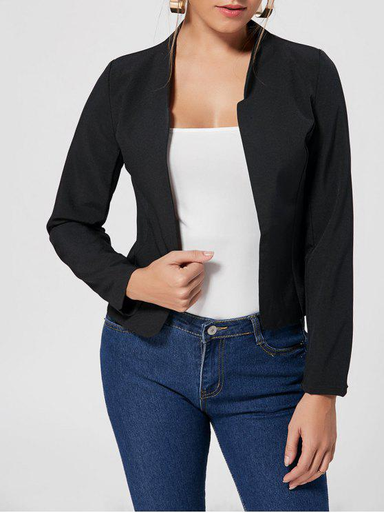 trendy Collarless Cropped Blazer - BLACK L