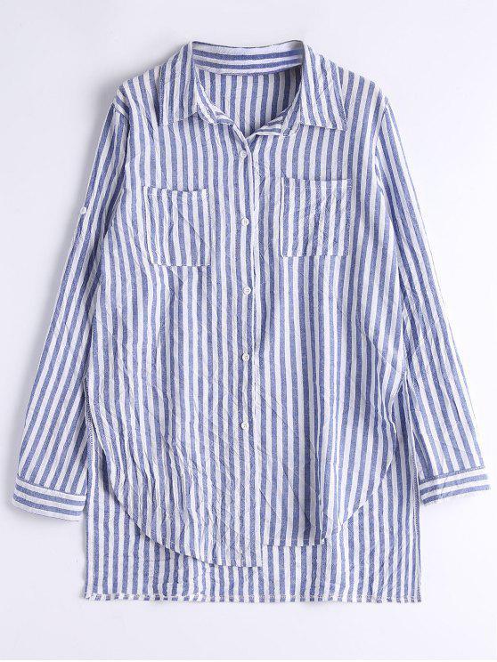 Stripes Slit High Low Camisa - Raya M