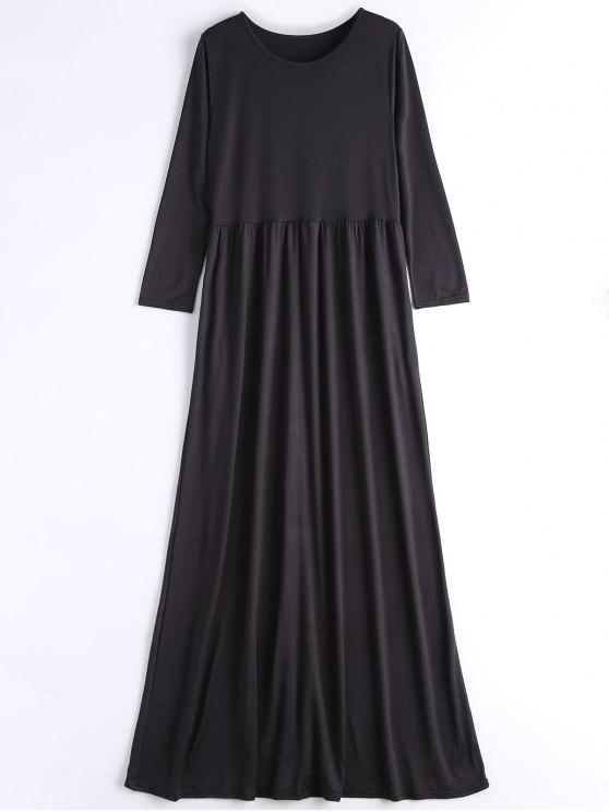 2019 Long Sleeve Casual Maxi Dress In Black M Zaful
