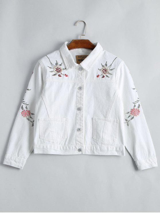 women Button Up Floral Embroidery Denim Jacket - WHITE S