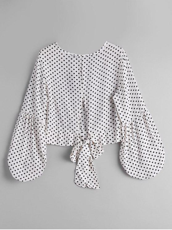 Blusa de ponto de bolinha amarrada - Branco e Preto M