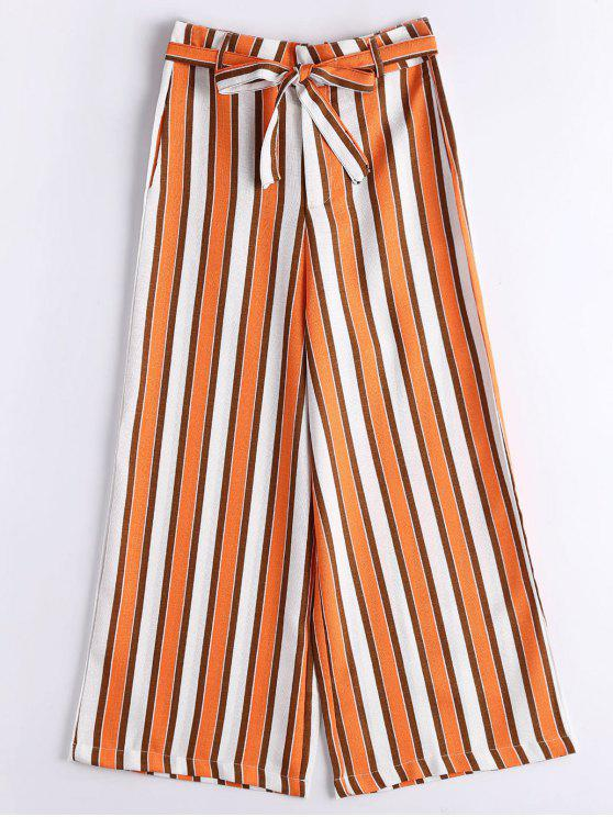 Stripes Belted High Waisted pantalones de pierna ancha - Raya S