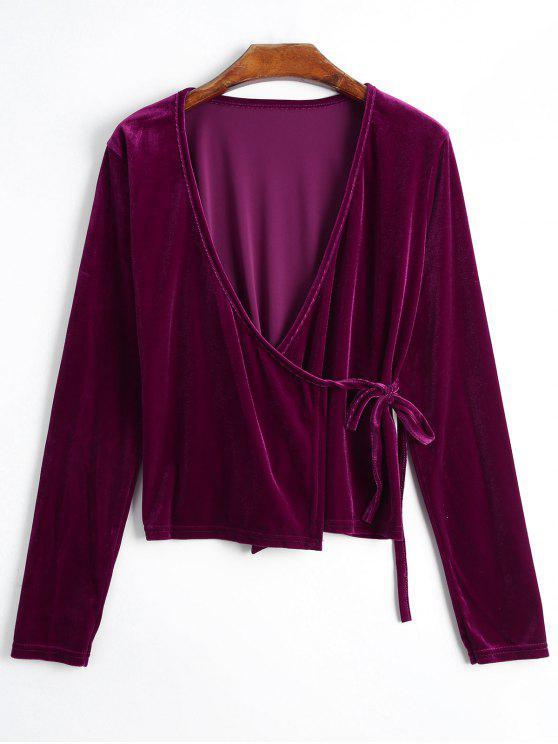 Plunging Neck Velvet Wrap Blusa - Rosa Violeta S