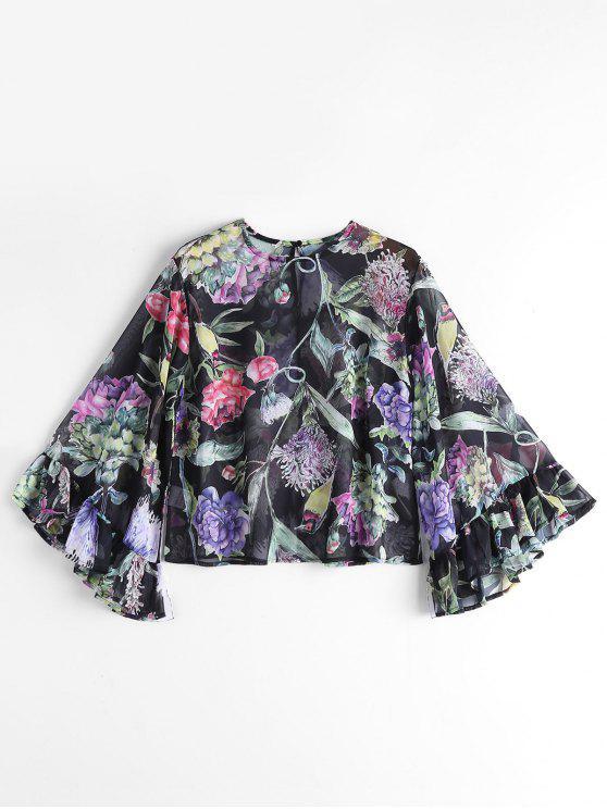 Floral Flounces Ver a través de la blusa - Floral M
