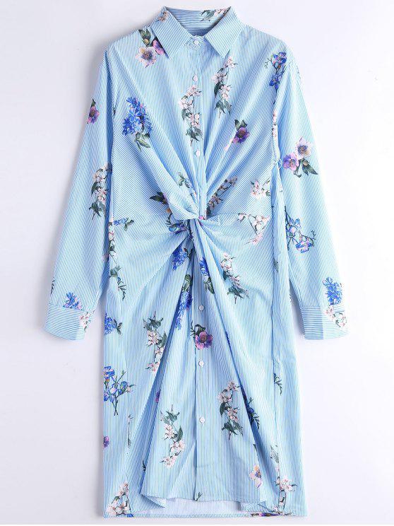 hot Long Sleeve Floral Stripes Twist Shirt Dress - STRIPE S