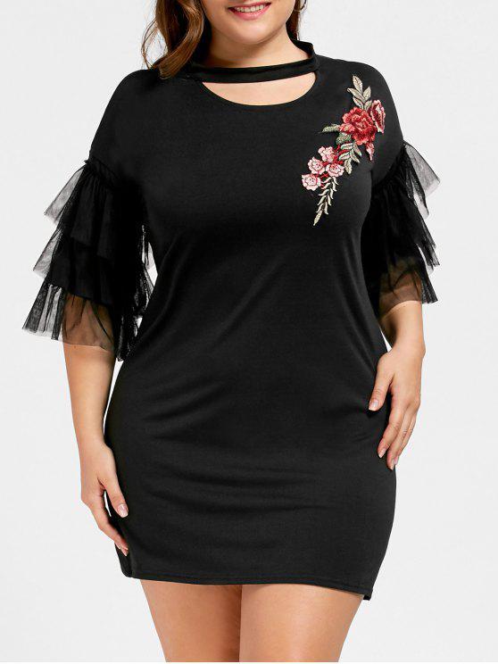 زائد حجم الزهور مطرز قطع اللباس مصغرة - أسود XL