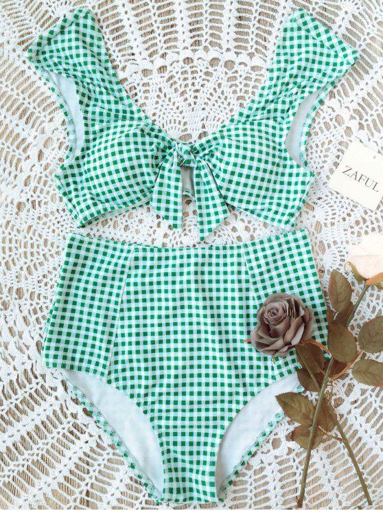 latest Checked Tie Front High Waisted Bikini - WHITE AND GREEN L