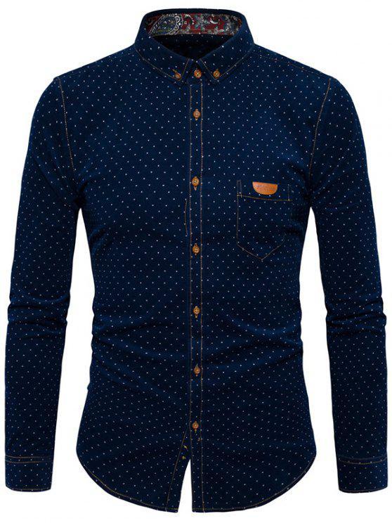 Camicia in velluto a coste Polka Dot - Blu Violaceo 2XL