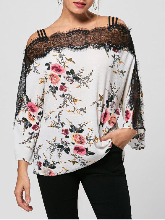 online Eyelash Lace Trim Floral Bohemian Blouse - WHITE M