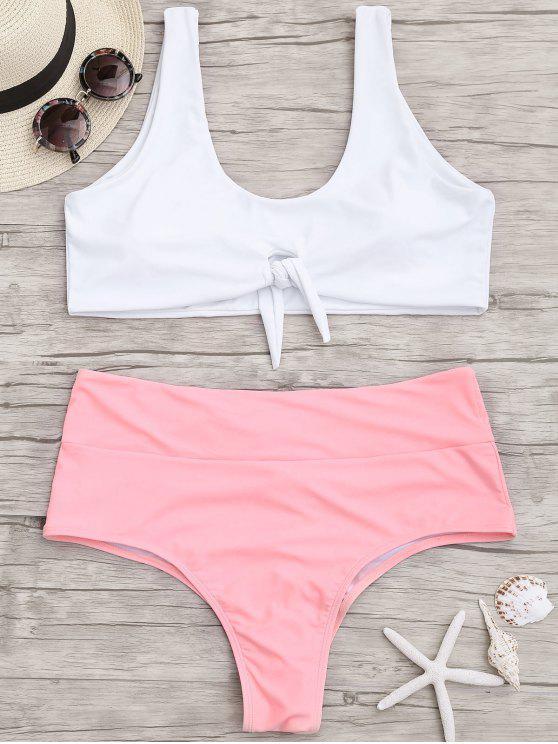 Plus Size Amarrado Dois Tons Ruched Bikini - Rosa e Branco 2XL