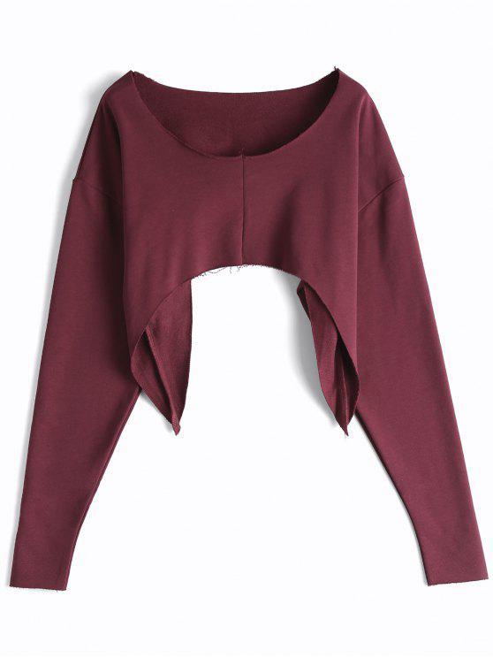 Asymmetrisches Strassenmode Crop Sweatshirt - Burgund Eine Größe