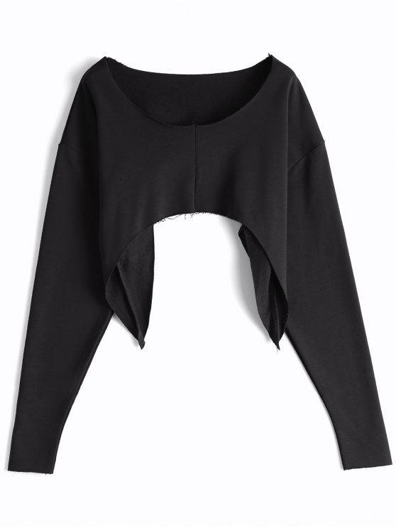 Asymmetrisches Strassenmode Crop Sweatshirt - Schwarz Eine Größe