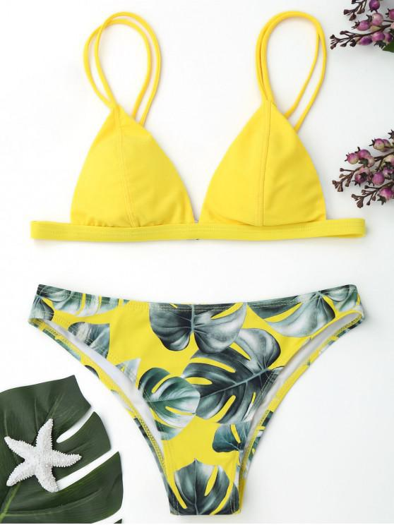 womens Cami Palm Leaf Print Bikini - YELLOW M