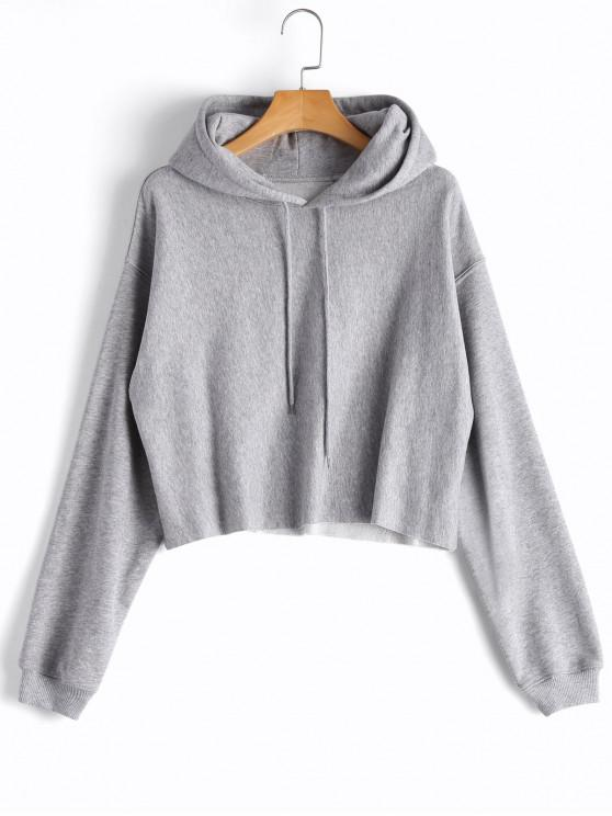 lady Cropped Drop Shoulder Pullover Hoodie - GRAY S