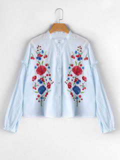 Button Up Flower Embroidered Blouse - Light Blue M