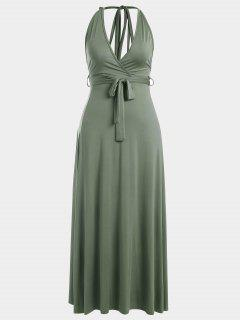 Halter Slit Backless Maxi Dress - Army Green S
