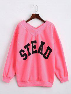 Drop Shoulder V Neck Letter Sweatshirt - Fluorescent Pink