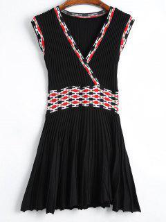 Sleeveless Graphic Knitted Dress - Black