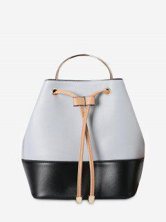 Metal Handle Colour Block Tote Bag - Black And Grey