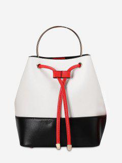Metal Handle Colour Block Tote Bag - White And Black