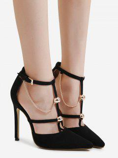 Metal Chains T-strap Faux Suede Pumps - Black 38