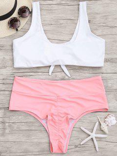 Plus Size High Cut Two Tone Ruched Bikini - Pink And White 2xl