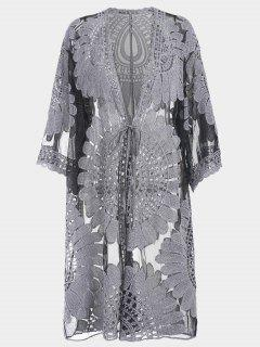 Plus Size Kimono Self Tie Cover Up Dress - Black Xl