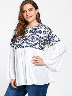 Plus Size Embroidery Flare Sleeve Bohemian Blouse - White 3xl