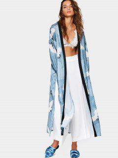 Side Slit Crane Graphic Duster Coat - M