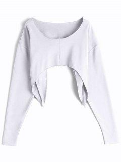 Asymmetric Streetwear Cropped Sweatshirt - White
