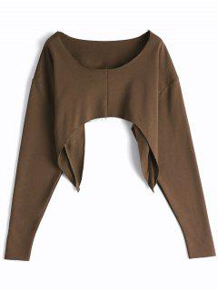 Asymmetric Streetwear Cropped Sweatshirt - Coffee