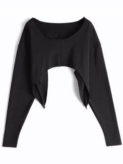 Asymmetric Streetwear Cropped Sweatshirt - Black