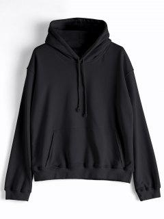 Casual Kangaroo Pocket Plain Hoodie - Black S