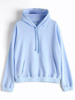 Casual Kangaroo Pocket Plain Hoodie - Light Blue L