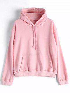 Casual Kangaroo Pocket Plain Hoodie - Pink L