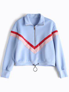 Faux Leather Panel Half Zipper Sporty Top - Light Blue M