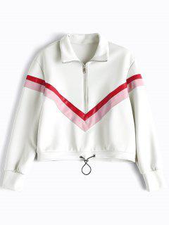 Faux Leather Panel Half Zipper Sporty Top - White M