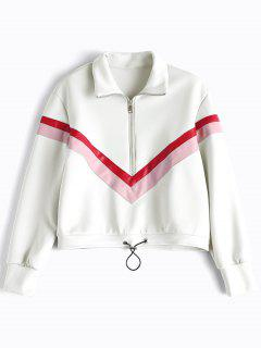 Faux Leather Panel Half Zipper Sporty Top - White S