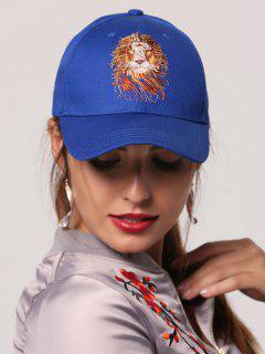 Lion Head Embroidery Baseball Hat - Royal